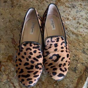 LK Bennett flat loafers animal print